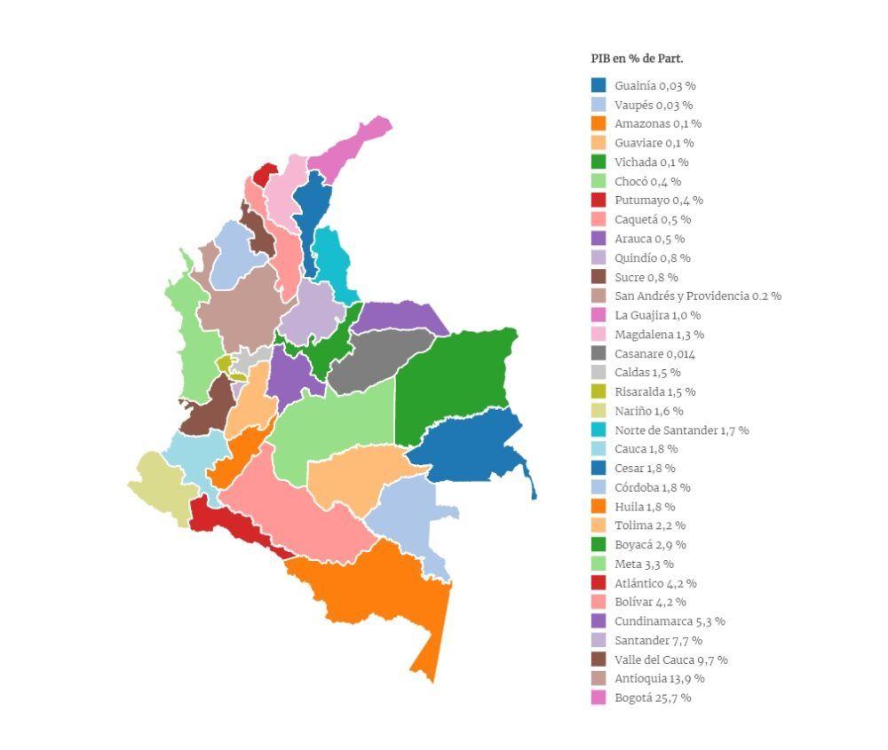 Mapa de actividades en Colombia